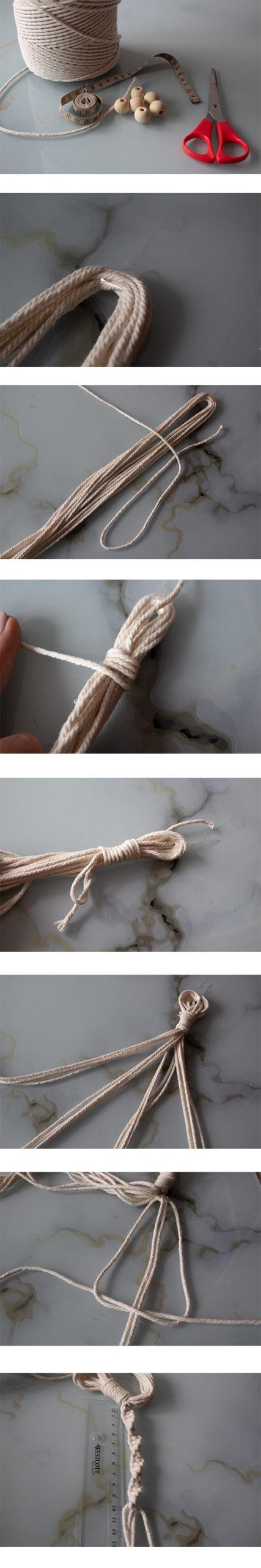 Bebilderung zur Beschreibung der Schritte zur Herstellung eines Makramees